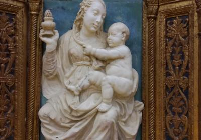 Spoleto Deposito Santo Chiodo: statua della Madonna Bianca proveniente da Ancarano (Norcia)