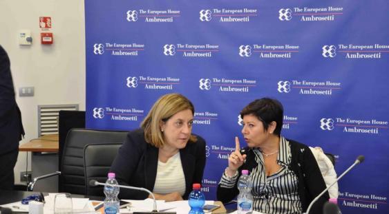 La presidente della Regione Umbria Catiuscia Marini con il commissario per la ricostruzione Paola De Micheli