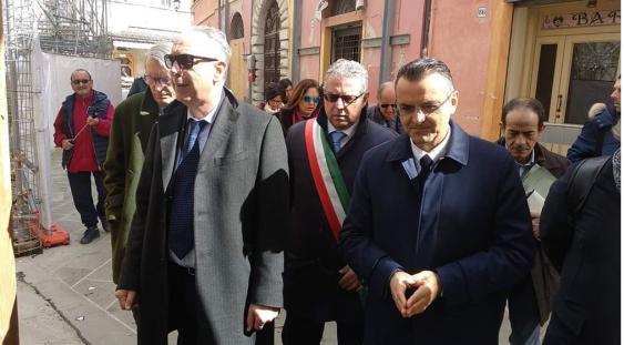 Norcia: il commissario Legnini con il coordinatore dell'USR Umbria Nodessi, il dirigente Battoni e il sindaco Alemanno